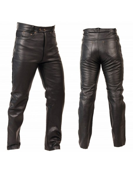 Spodnie motocyklowe skórzane męskie klasyczne proste, miękka skóra SSM003 - Rypard.pl Odzież i akcesoria motocyklowe