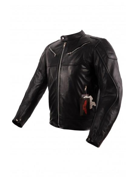 Turystyczna skórzana kurtka motocyklowa z perforacją rękawów KSM045 - Rypard.pl Odzież i akcesoria motocyklowe