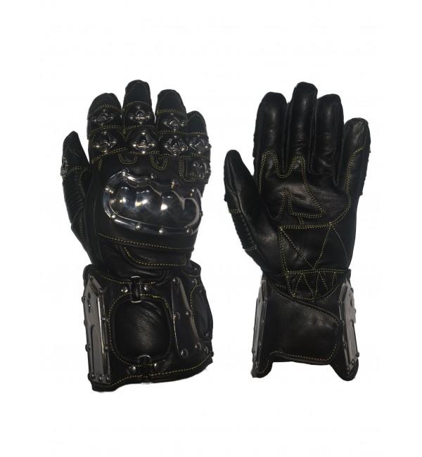 Skórzane męskie rękawice motocyklowe z regulacją w okolicach nadgarstka wykonane z delikatnej skóry