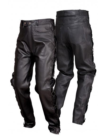 Spodnie motocyklowe skórzane męskie wiązane rzemieniami SSM002 - Rypard.pl Odzież i akcesoria motocyklowe