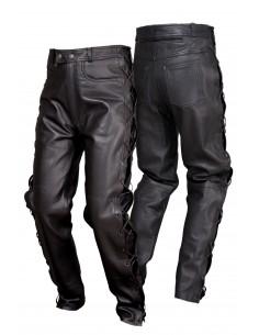 Spodnie motocyklowe skórzane męskie wiązane rzemieniami, miękka skóra SSM001 - Rypard.pl Odzież i akcesoria motocyklowe