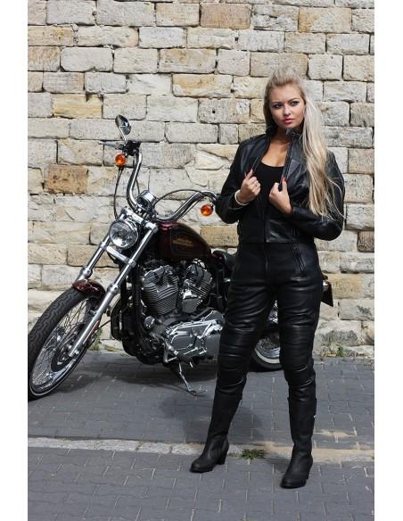 PROFESJONALNA  DAMSKA KURTKA SKÓRZANA MOTOCYKLOWA  KSD009